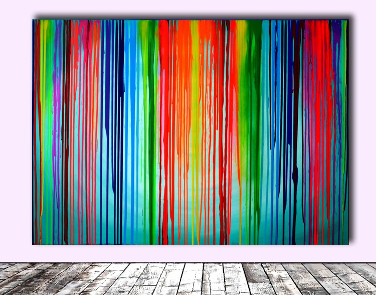 Melting the Rainbow - 140x100 cm - FREE SHIPPING - Big Painting XXL - Large Abstract, Huge, Gigantic Painting - Ready to Hang, Hotel Wall Decor - Image 0