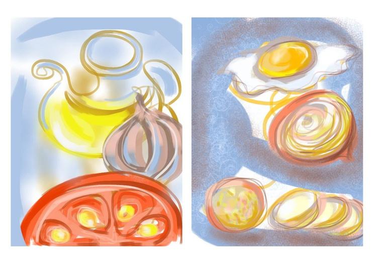 Tortilla de Patatas composition (iPad + watercolor) - Image 0