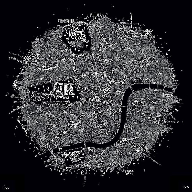 Typographic Street Map Of Central London (Black) - Image 0