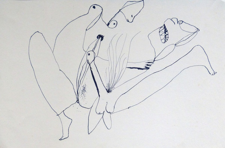 Surrealist Lovers 7, ink on paper 42x28 cm - Image 0