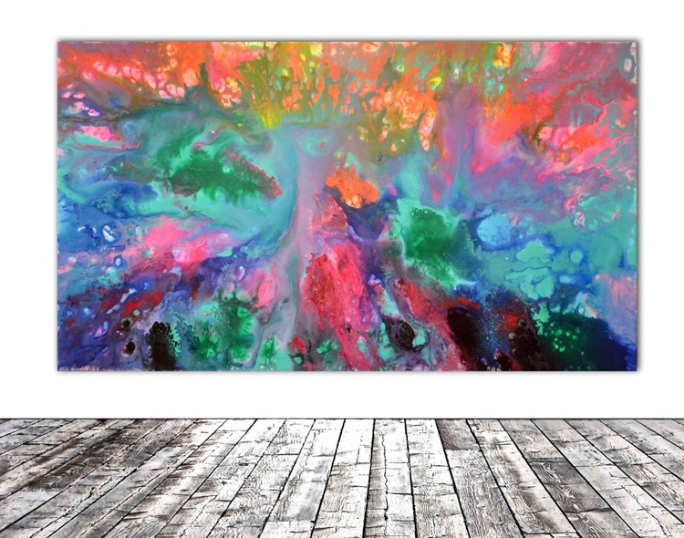 Heartbeat - 140x80 cm - REDUCED PRICE TILL 20 OCT. Big Painting XXXL - Large Abstract, Supersized Painting - Ready to Hang, Hotel Wall Decor - Image 0