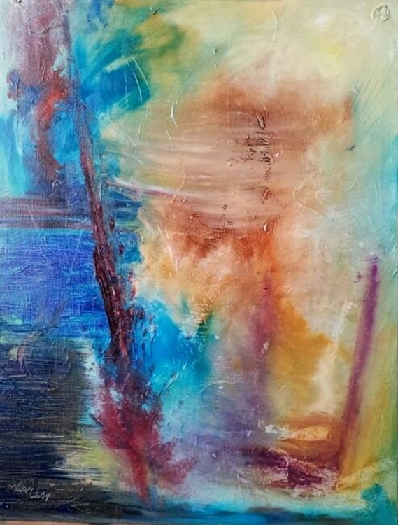 Moon dancing with two glasses original abstract oil painting. - Image 0