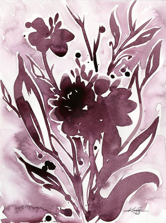Organic Impressions No. 118 - Flower Watercolor Painting - Image 0