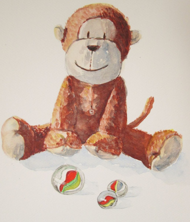 """""""MONKEY AND MARBLES"""", Primate, Ape, Monkey, Toys Baby gift - Image 0"""