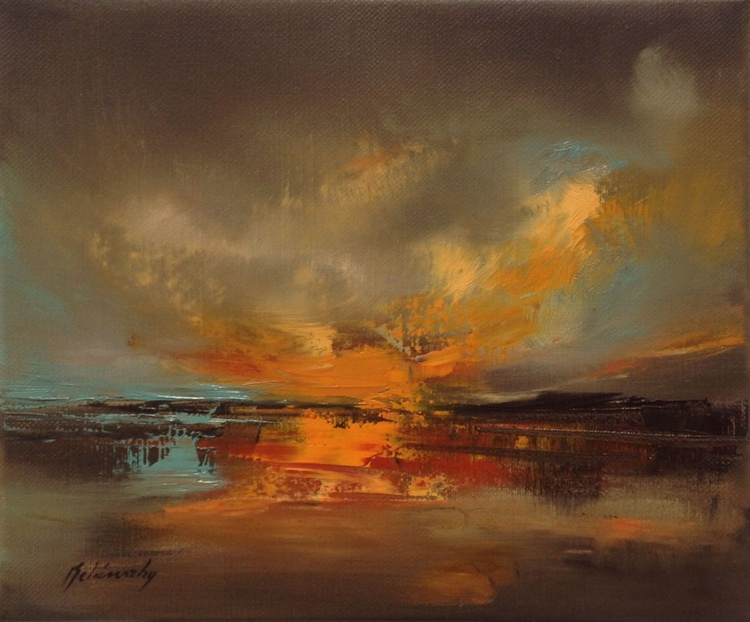 Silent Moments - 25 x 30 cm, abstract landscape oil painting, hills, warm, earth tone colours - Image 0