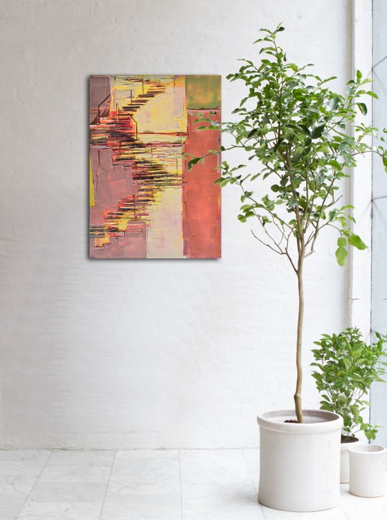 """Abstract painting """"Interior city 05"""". Oil painting on cotton canvas. 60/80 cm - Image 0"""