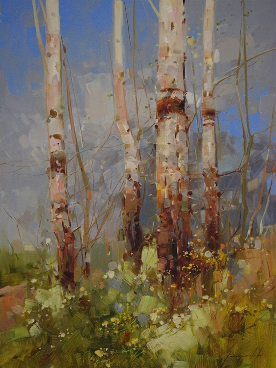 Birches Trees, Landscape Original oil painting  Handmade artwork One of a kind Signed - Image 0