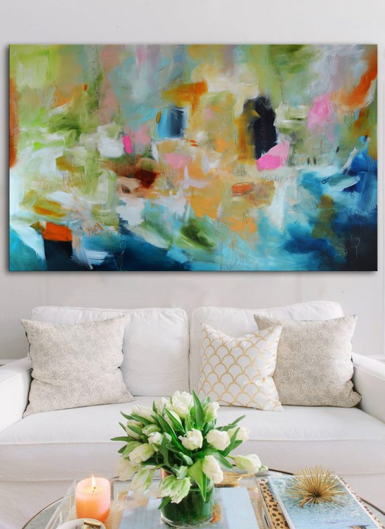Pink Spots for a Rainy Day  - Green and Blue Abstract Painting ready to hang, Large Abstract Painting - Image 0