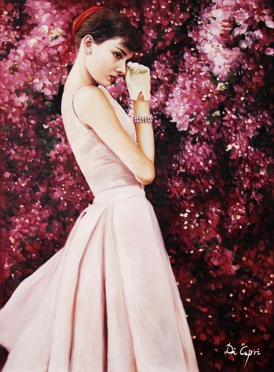"""Audrey Hepburn Portrait """" Audrey Hepburn and bougainvillea"""" - Image 0"""