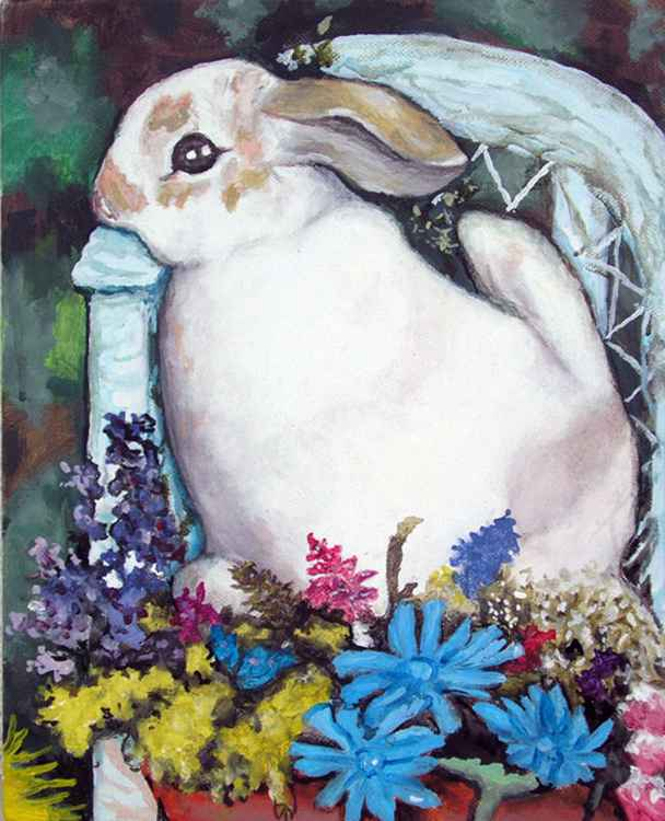 Rabbit In Flowers - Free Shipping -