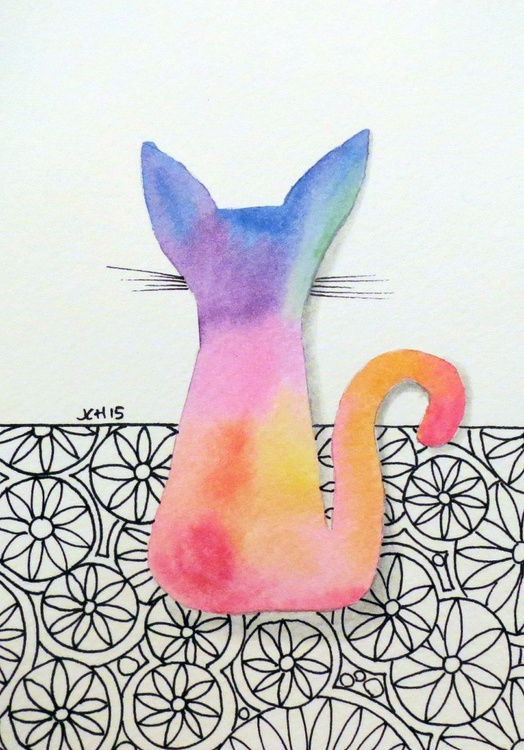 Tie Dye Kitten with Flowers - Image 0