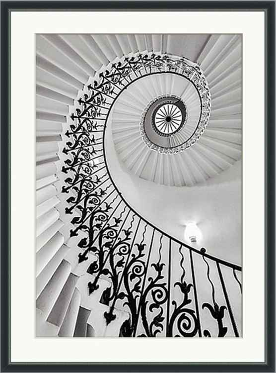 "The Queen's House Tulip Staircase, London  - 32x44"" framed Limited Edition Print -"
