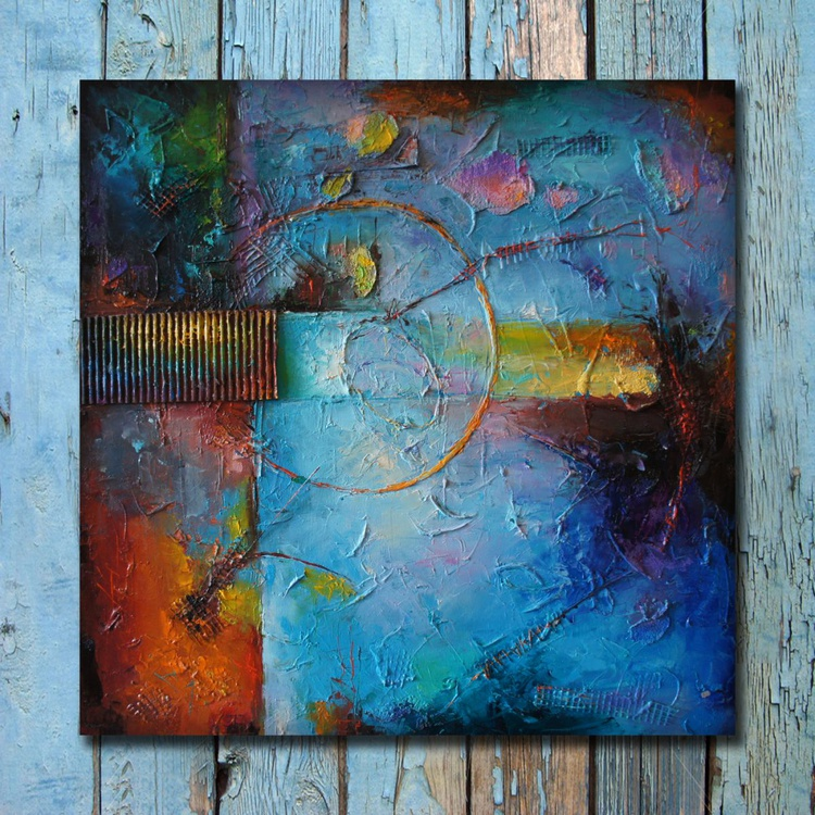 Blue harmony, Abstract oil Painting, Mixed media collage, Free shipping - Image 0