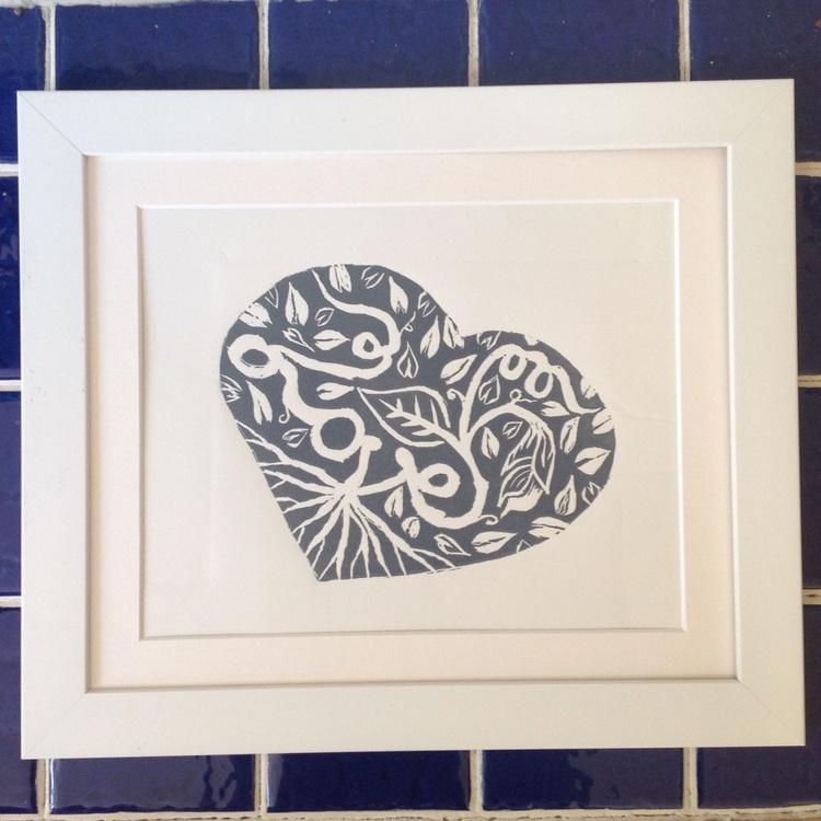 My heart sings for love, Linocut Print - Image 0