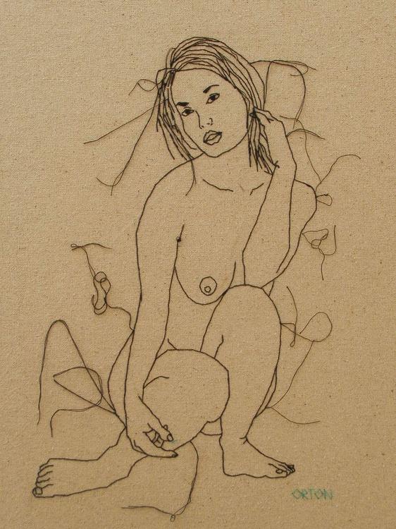 Embroidered Female Nude Figure Study - Image 0