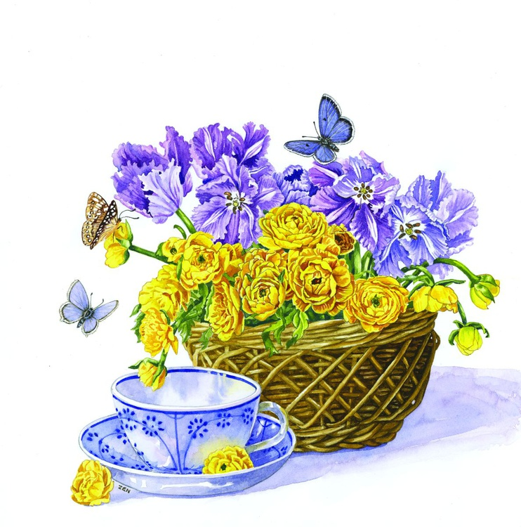 Spring Basket and Tea Cup - Image 0