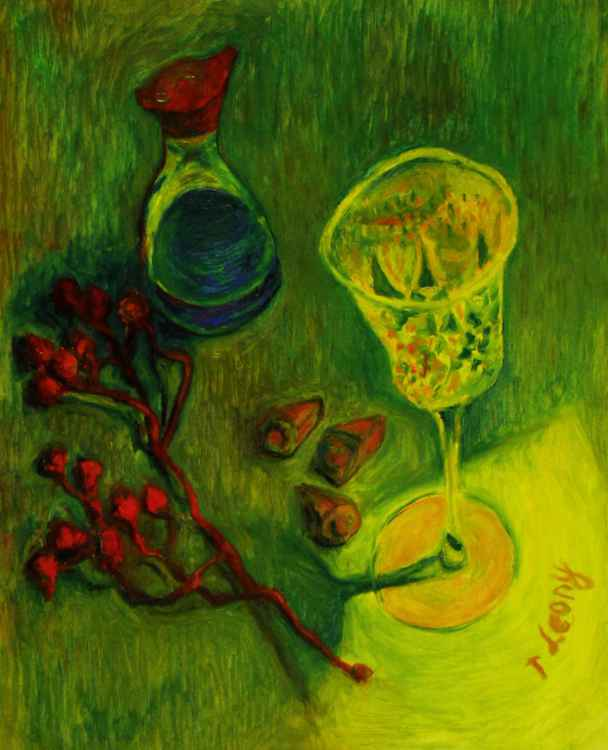 Still-life with a glass, a bottle of soy and eucalyptus seeds STL16n20 -