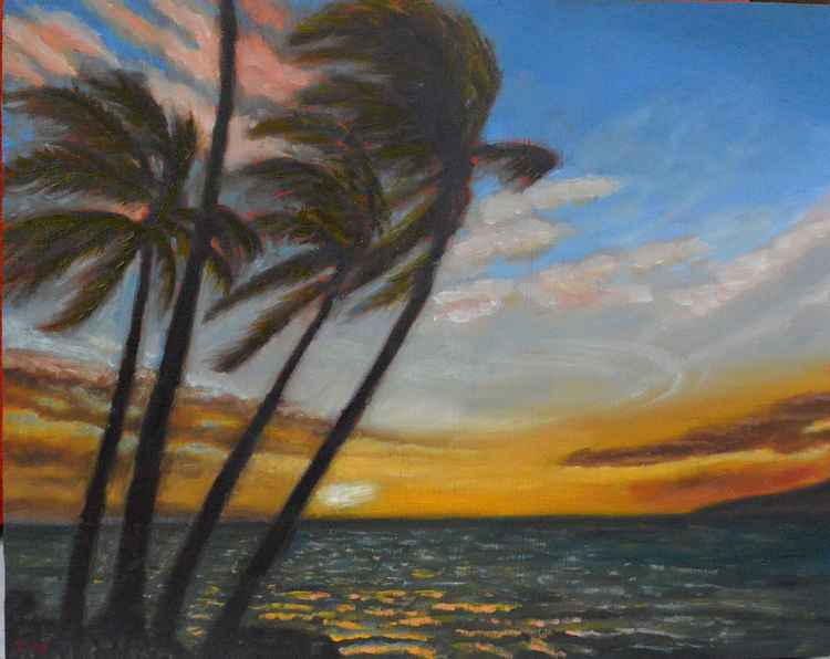 Kohala's Sunset - coastal landscape - plein air painting -
