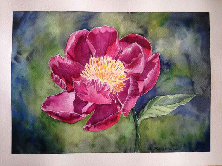 Original one of a kind watercolor painting - Peony flower -