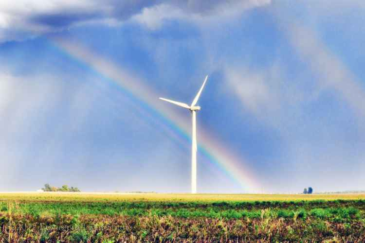 Sunlight, Rainbow, and Wind Turbine