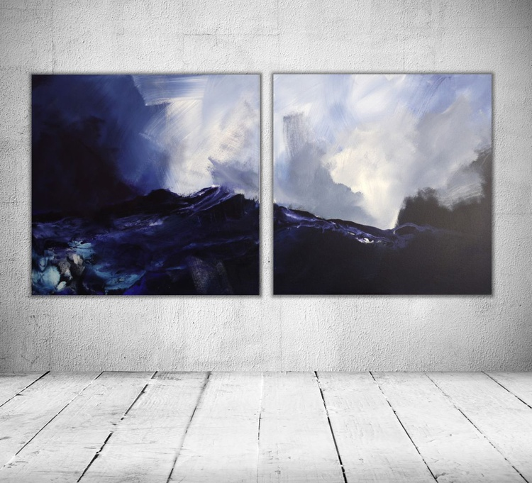 Blue Mountains | Abstract Landscape Diptych | blue and white | Work No. 2009.20 - Image 0