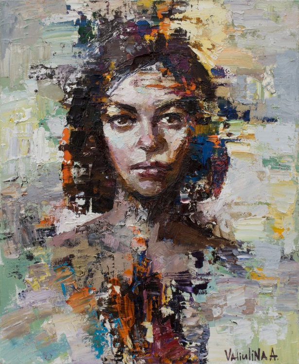 Abstract woman portrait painting, Original oil painting - Image 0
