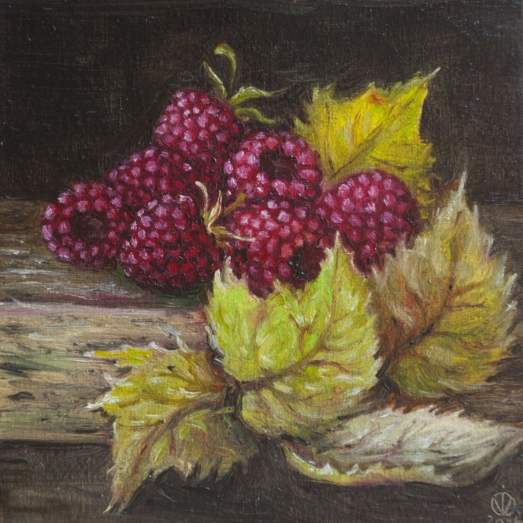Raspberries (15x15 cm) original oil painting little still life realistic small vintage style gift kitchen decor - Image 0