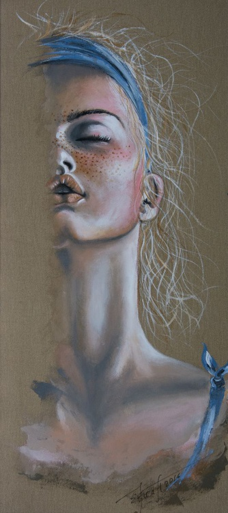 """""""Kissed by sun"""", original acrylic painting, 45x100x2 cm, ready to hang - Image 0"""