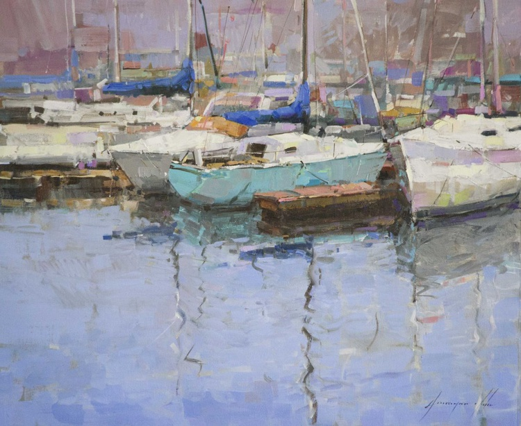 Sail Boats Harbor in Marina Del Ray Original oil painting  Handmade artwork One of a kind Large Size - Image 0