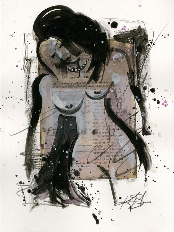 Nude Love 4 - Abstract Mixed Media Painting - Image 0