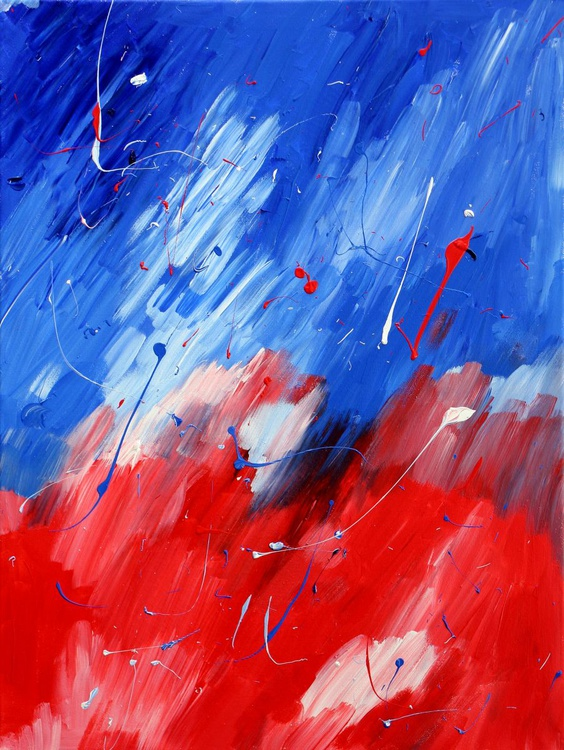 'Red White And Blue' Abstract Acrylic Painting On Canvas - Image 0