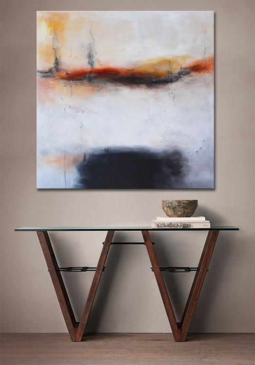 Black Sea - 48x48 black, white and orange painting - Image 0