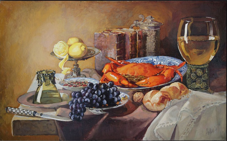 Still life with a roemer, a crab and a peeled lemon - Image 0