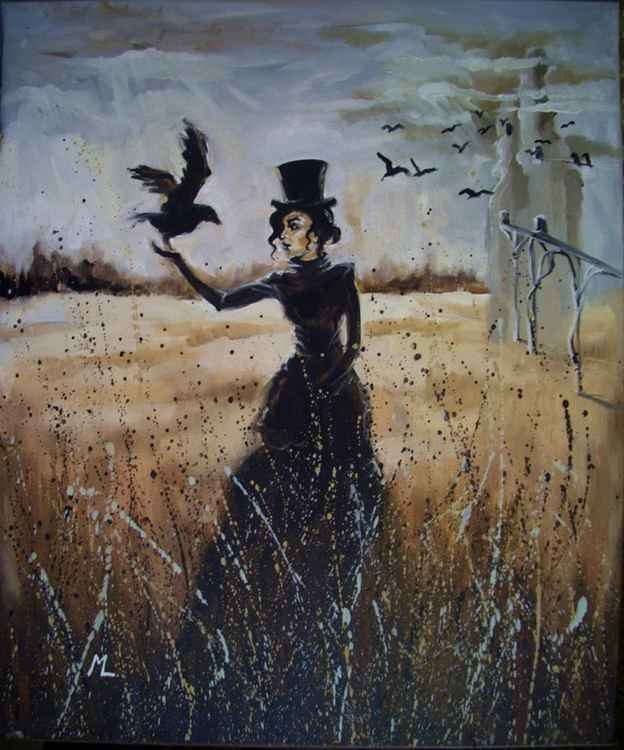 """ GIRL WITH RAVEN IV ... - original oil painting, surrealism """