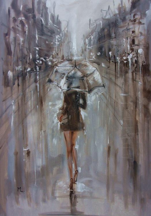 "100x70cm LARGE FORMAT ""  AUTUMN RAIN ... "" original painting CITY palette knife GIFT MODERN URBAN ART OFFICE ART DECOR HOME DECOR GIFT IDEA - Image 0"