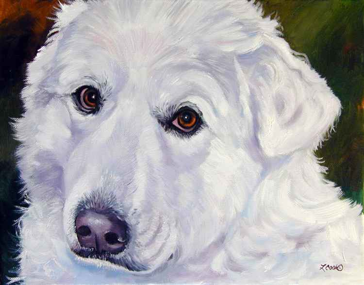 Great Pyrenees Dog Soulful Original Oil Painting Art
