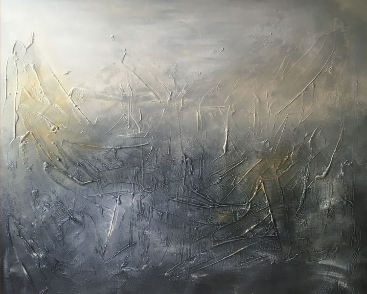 FRAMED IN WHITE Short Night Large Textured abstract painting - Image 0