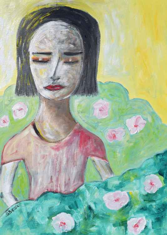 Woman in Flower Garden