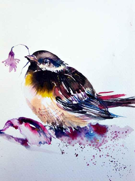 Koolmees bird watercolour original