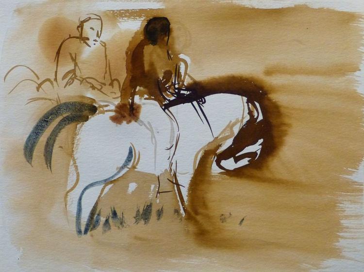 Horsemen, 24x32 cm - Image 0