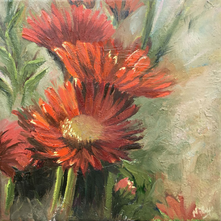 Spring Daisies - FRAMED Original Oil Painting of Red Flowers - Image 0