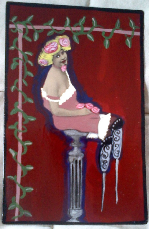 Lovely Amputee with Roses and Pin Prosthetic Legs - Image 0