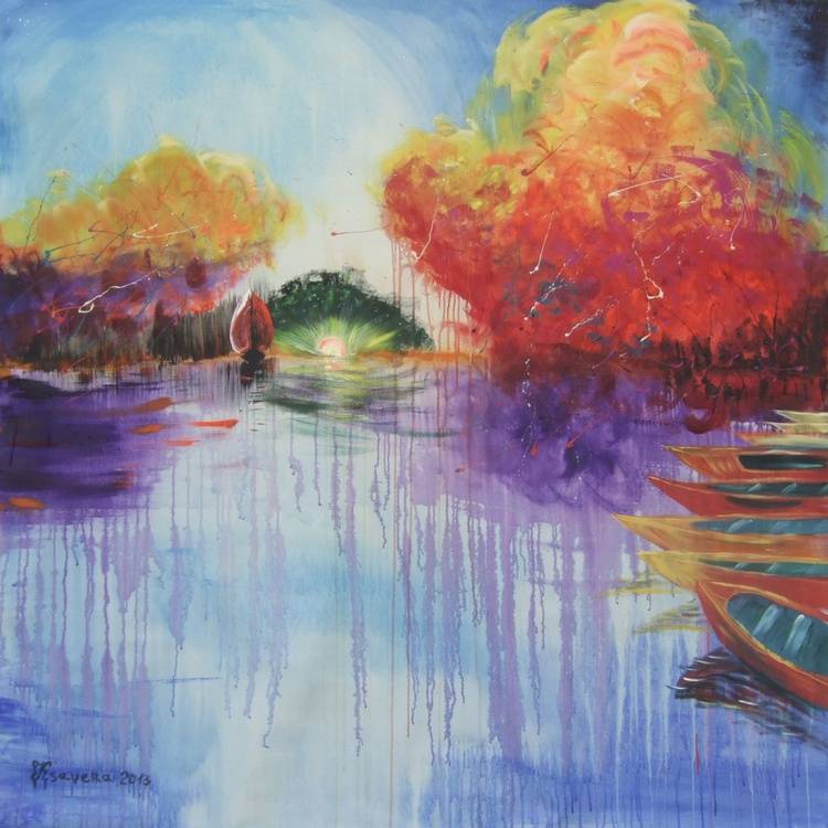 Expressionism abstract landscape seascape red sail boats sunset Extra Large painting 160x160 cm unstretched canvas acrylic art orange rainbow blue sky by artist Ksavera - Image 0