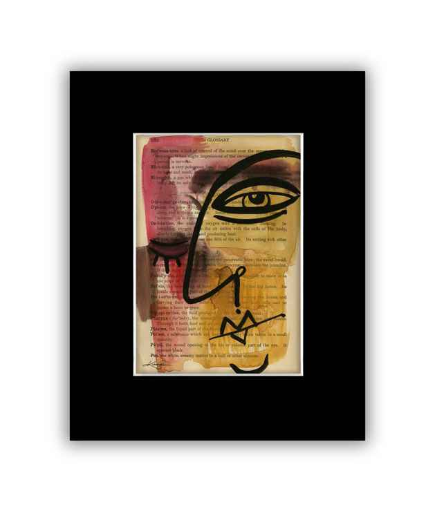 """I See 38"" on Antique Book Page - Abstract Watercolor Painting -"