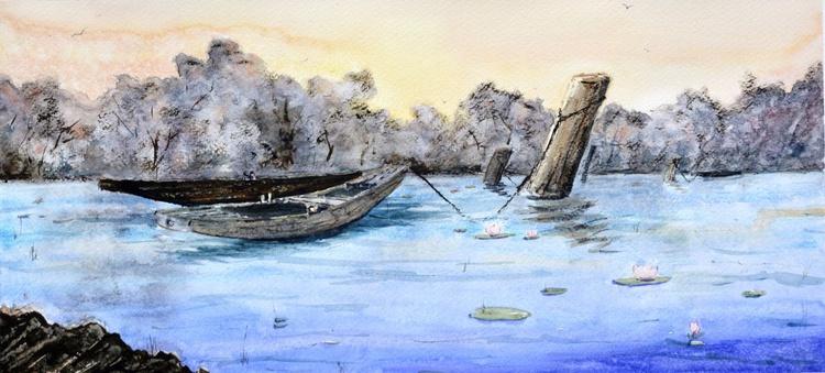 Calm water - original watercolor landscape painting by Nenad Kojić - Image 0