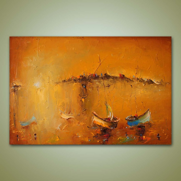 The golden sea, Oil Painting, free shipping - Image 0