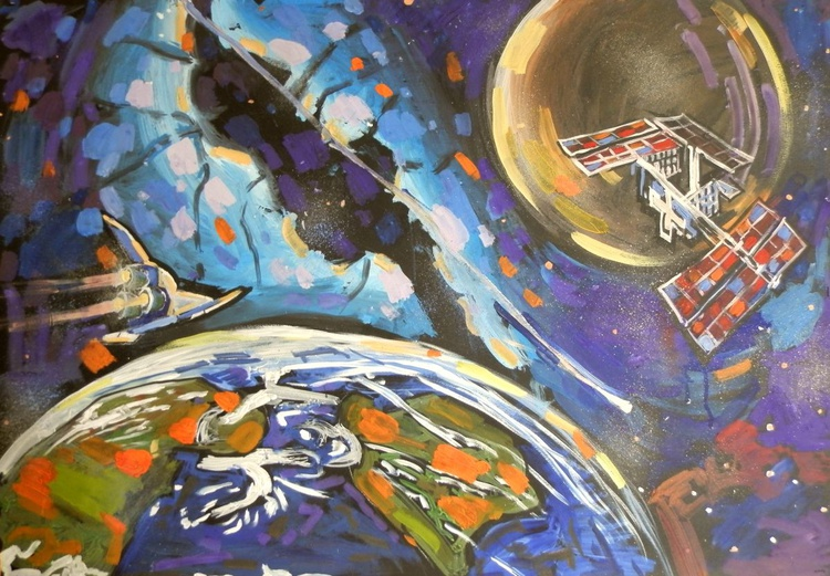 Space, large painting 100x70 cm - Image 0