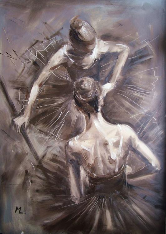""" BALLET GIRLS "" grey art, original oil painting on canvas - Image 0"
