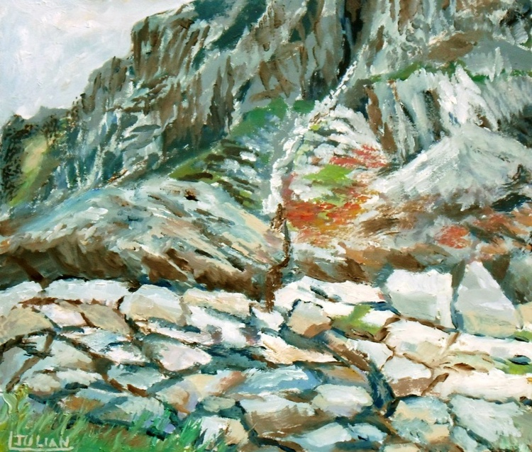 """The foothills of Snowdon, at Nant Peris, North Wales, An original Oil Painting 12"""" x 10"""" Ready Framed. - Image 0"""