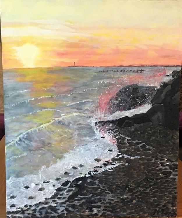 sunset on selsey rocks - Image 0